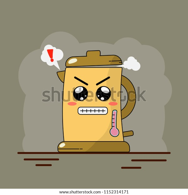 Angry Kettle Boiling Steam Coming Vector Stock Vector (Royalty Free