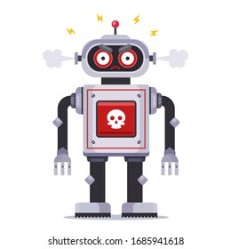 angry killer robot on a white background. Flat character vector illustration