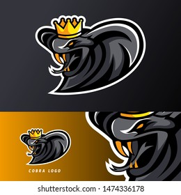 Angry king cobra snake sport esport gaming mascot logo template for streamer team
