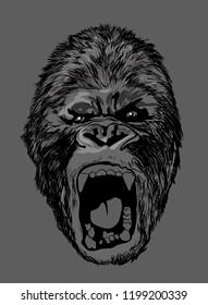 angry king kong gorilla monkey face head grey texture