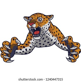 Angry leaping leopard