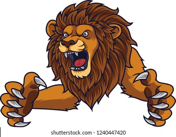 Angry leaping lion