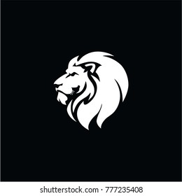 Angry Lion Head Black And White Vector Logo Design, Illustration, Template