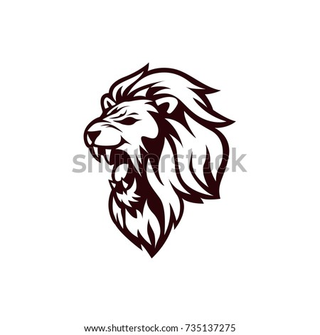 Angry Lion Head Black White Logo Stock Vector Royalty Free