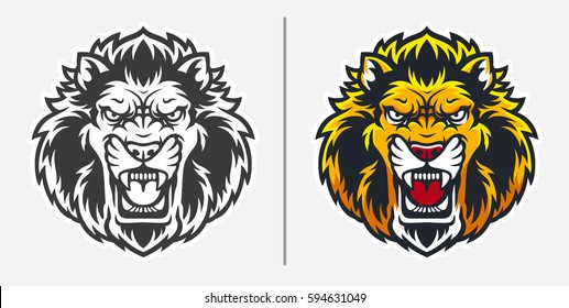 Angry Lion Head Mascot Logo