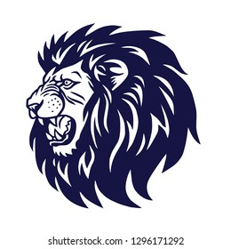 Angry Lion Head Roaring Logo Vector Icon Template Design
