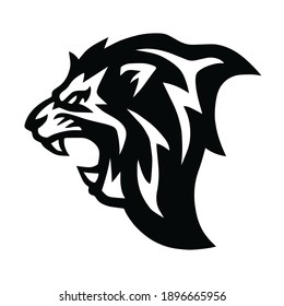 Angry Lion Head Roaring Logo Vector Mascot