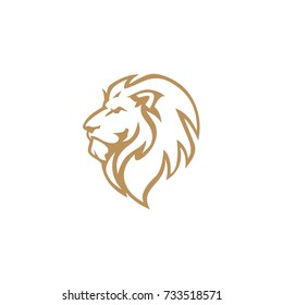 Angry Lion Head, Vector Logo Design, Illustration, Template