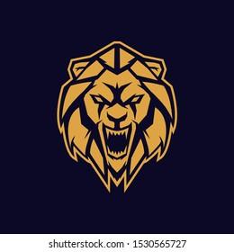 angry lion heart shield vector logo