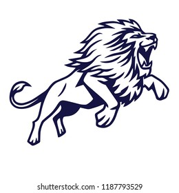 Angry Lion Jump Vector Logo Mascot Design Illustration