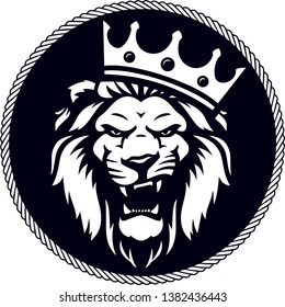 Angry lion king head logo with crown in circle