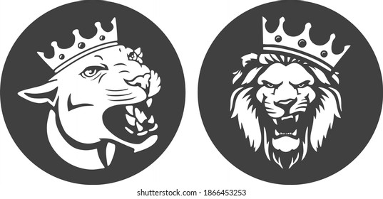 Angry lion king head logo with crown in circle laser cut