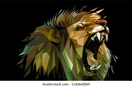 Angry Lion low poly illustration dark background