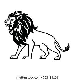 Angry Lion Roar Logo Mascot Vector