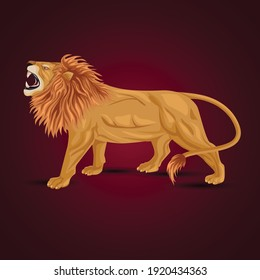 angry lion side view isolated white background. vector illustration.