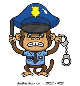 Angry Little Monkey cartoon characters wearing policeman uniform and policeman hat, carrying baton and handcuffs, get ready to catching a criminal, best for mascot of law education for children