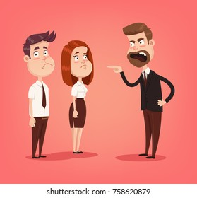 Angry mad boss character screaming at employees office workers. Vector flat cartoon illustration