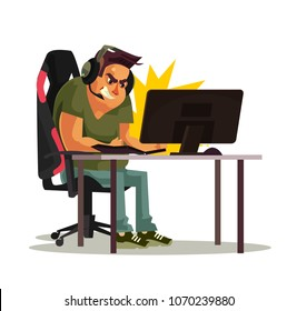 Angry mad gamer call center operator manager office worker character lose game and hit punch computer pc keyboard. Fail cyber internet virus ddos error concept. Vector flat cartoon graphic design