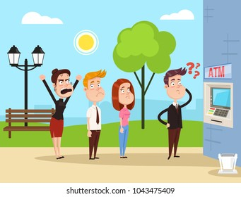 Angry mad people characters standing waiting in line ATM. Vector flat cartoon illustration concept