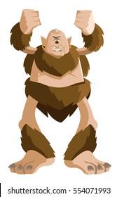 angry mad troll caveman cyclops