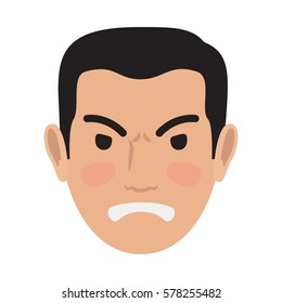 Angry man avatar user pic isolated on white. Vector illustration of front view of upset person. Male head with spiteful facial expression. Adult profile icon with wicked face, character in bad mood