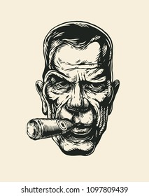 Angry Man With A Big Cigar In His Mouth.Drawing Style. Vector illustration.