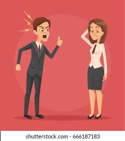 Angry man boss character yelling at employee woman office worker. Vector flat cartoon illustration