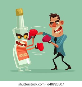 Angry man fights with alcohol bottle characters and trying quit drinking vodka. Vector flat cartoon illustration