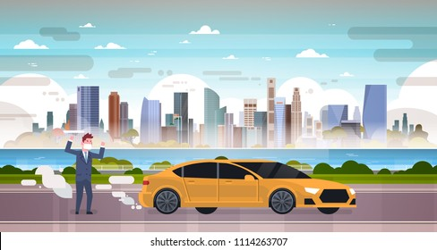 angry man in mask car emissions of exhaust gases carbon dioxide over smog nature pollution city landscape atmosphere, full length, flat