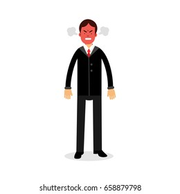 Angry man with red face blowing steam coming out of his ears vector Illustration