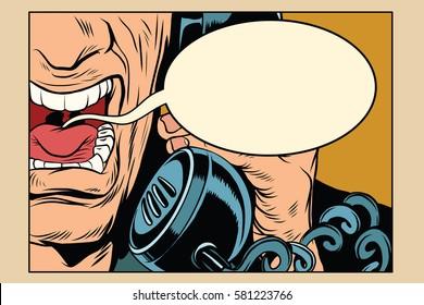 Angry man talking on the phone. comic cloud. Vintage pop art retro comic book vector illustration