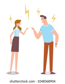 Angry man and woman quarrelling and making a loud public scandal. Vector flat cartoon illustration.