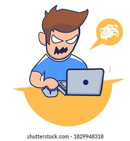 Angry man working on laptop cartoon vector icon illustration. science technology icon. flat cartoon style.