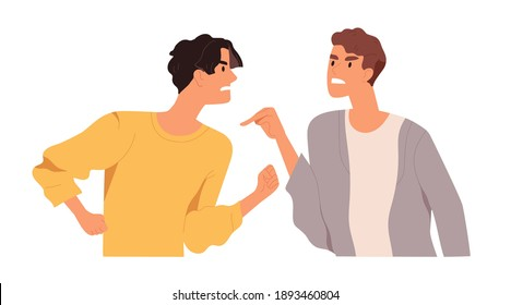 Angry men arguing and conflicting. Quarrel and fight between two aggressive people. Male characters shouting, blaming and criticizing. Colorful flat vector illustration isolated on white background