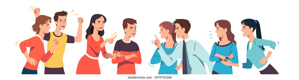 Angry men and women different groups arguing, fighting. Aggressive people discussing social issues, shouting, gesturing. Communities disagreement, conflict problem discussion flat vector illustration