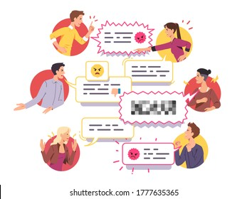 Angry men & women friends yelling arguing set. Aggressive people quarreling, shouting, gesturing & expressing anger, couple having conflict & relationship problem. Flat vector character illustration