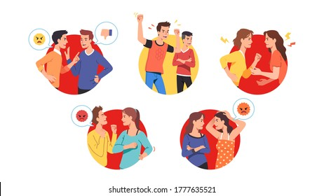 Angry men, women send aggressive chat messages & argue on social media. Indignant furious people communication, expressing anger, shout, gesture. Online rant fight, conflict flat vector illustration
