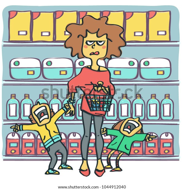Angry and miserable woman with two raging kids at supermarket, colorful funny vector cartoon