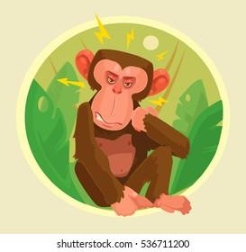 Angry monkey character. Vector flat cartoon illustration