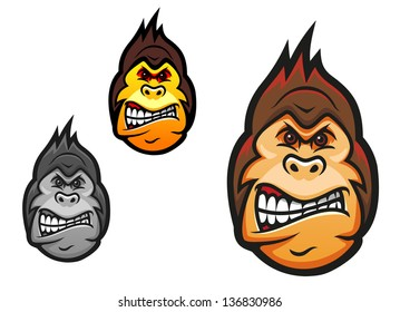Angry monkey head in cartoon style for sport mascot design. Jpeg (bitmap) version also available in gallery