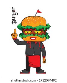 Angry monster cartoon hamburger with smiley face  vector image