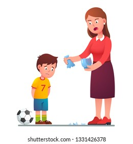 Angry mother scolding sad preschool son kid for breaking vase while playing football. Upset guilty boy child with soccer ball. Parenting and misbehavior. Flat character vector isolated illustration