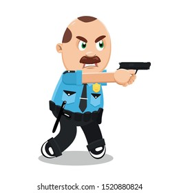 Angry mustached plump policeman in blue uniform firing a gun to criminal. Brown haired police officer, cop using firearm at work. Cartoon vector illustration isolated on white background.