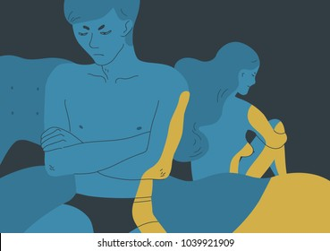Angry naked man and woman sitting turned away one another on opposite sides of bed. Concept of sexual problem between spouses, emotional disconnection in married couple. Colorful vector illustration.
