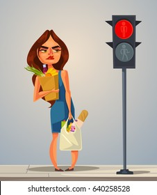 Angry nerves hurrying late woman is waiting for green color traffic light. Vector flat cartoon illustration