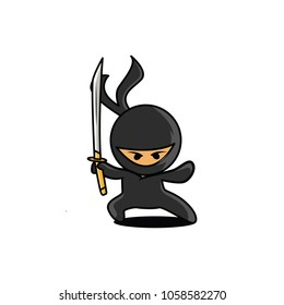Angry Ninja Hold a Sword Vector Illustration