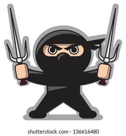 Angry Ninja With Sai Weapon