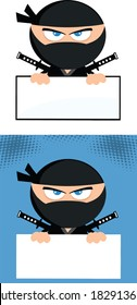 Angry Ninja Warrior  Cartoon Character Over Blank Sign.Flat Design. Vector Collection Set