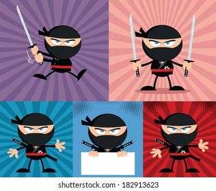 Angry Ninja Warrior  Cartoon Characters 4.Flat Design. Vector Collection Set
