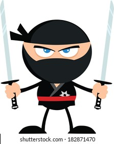 Angry Ninja Warrior With Two Katana.Flat Design. Vector Illustration Isolated on white